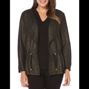 NWT Rafaella Gold Foil Mesh Open Large Jacket